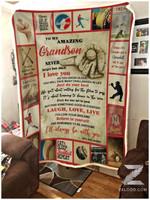 Blanket - Baseball - To My Grandson - Laugh, Love, Live (Grandpa)
