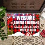 Welcome Beware Of Husband Doormat Funny Saying With Front Door Mat Outdoor
