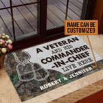 Personalized Gift For Couple Veteran Doormat A Veteran And Commander