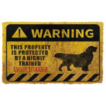This Property Is Protected By A Highly Trained Golden Retriever Doormat