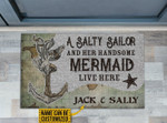 Personalized A Salty Sailor And Her Handsome Mermaid Live Here Customized Doormat