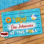 Meet The Johnsons At The Pool Personalized Doormat