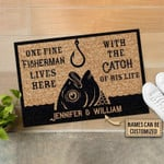 Personalized Fishing One Fine Fisherman Customized Doormat