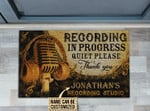 Personalized Recording In Progress Quiet Please Thank You Customized Doormat