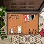 Cat I Say Hello Easy Clean Welcome Doormat
