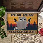 Raccoon Gunman Pew Pew Madafakas Doormat Hilarious Cute Door Mats Indoor Unique