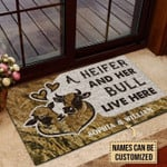 Personalized Cattle Couple Heifer And Bull Live Here Customized Doormat