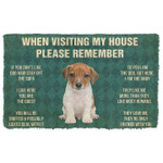 When Visitng My House Remember Jack Russell Terrier Puppy Dogs House Rules Doormat