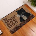 Black Cat No Knockee Before Coffee Doormat