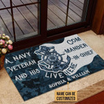Personalized Navy Veteran Live Here Blue Custom Doormat
