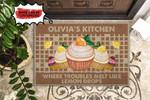 Olivias Kitchen Where Troubles Melt Like Lemon Drops Personalized Doormat