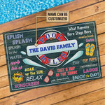 Personalized The Davis Family Swimming Pool Rules Customized Doormat