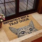 Definitely Not A Trap Door Doormat Cat Funny Doormat Outdoor For Cat Lovers