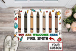 Teacher You Are Welcome Here Crayons Custom Teacher Name Printed Doormat Home Decor