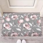Grey Vintage Floral Print Funny Outdoor Indoor Wellcome Funny Outdoor Indoor Wellcome Doormat