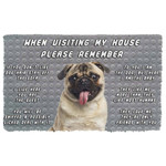 Alohazing 3D Please Remember Pug Dogs House Rules Doormat