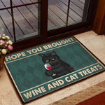 Hope You Brought Wine And Cat Treats All Over Printing Doormat  Welcome Mat