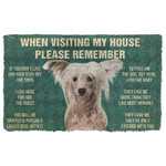 3D Please Remember Chinese Crested Dogs House Rules Custom Doormat
