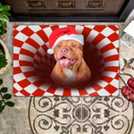 Dog Lovers  Door Mat Pitbull Christmas