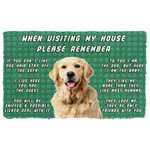 Alohazing 3D Please Remember Golden Retriever Dogs House Rules Doormat
