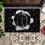 Black Skull - US Flag Doormat  Welcome Mat  House Warming Gift