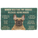 3D Please Remember French Bulldog Dogs House Rules Doormat
