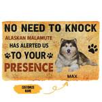 3D No Need To Knock Alaskan Malamute Dog Custom Name Doormat