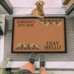 Golden Retriever Dog I Say Hello Brown Funny Outdoor Indoor Wellcome Doormat