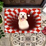 Door Mat White Labrador Christmas