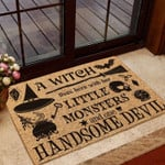 A Witch Lives Here With Her All Over Printing Funny Outdoor Indoor Wellcome Doormat