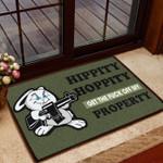 Funny Door Mat Hippity Hoppity Get Off My Property Bunny Version