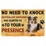 Gearhuman 3D No Need To Knock Australian Shepherd Dog Custom Name Doormat