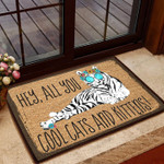 Hey All You Cool Cat  Kittens Doormat  Welcome Mat  House Warming Gift