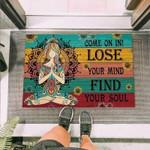 Hippie Come On In Funny Outdoor Indoor Wellcome Doormat