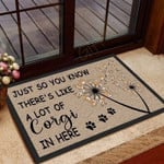Dandelion Flower Corgi Funny Outdoor Indoor Wellcome Doormat