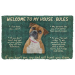 3D Boxer Dog Welcome To My House Rules Custom Doormat