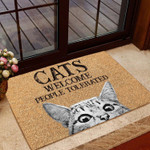 Cats Welcome People Tolerated Coir Pattern All Over Printing Funny Outdoor Indoor Wellcome Doormat