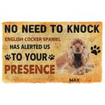Gearhuman 3D No Need To Knock English Cocker Spaniel Dog Custom Name Doormat