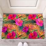 Hibiscus Flower Hawaiian Yellow Print Funny Outdoor Indoor Wellcome Funny Outdoor Indoor Wellcome Doormat
