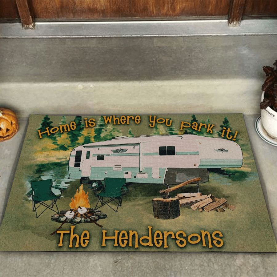 Camping Lovers Door mat  Home Is Where You Park It