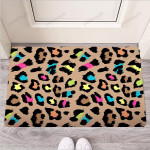 Brown Colorful Cheetah Print Funny Outdoor Indoor Wellcome Funny Outdoor Indoor Wellcome Doormat