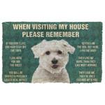 3D Please Remember Coton de Tulear Dogs House Rules Custom Doormat