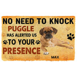 Gearhuman 3D No Need To Knock Puggle Dog Custom Name Doormat