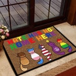 Cat LGBT Doormat Hate Has No Home Here  Welcome Mat  House Warming Gift