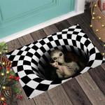 Alien and cat Alien Doormat  Welcome Mat