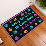 Crazy Cat Lady Lives Here Doormat  Welcome Mat