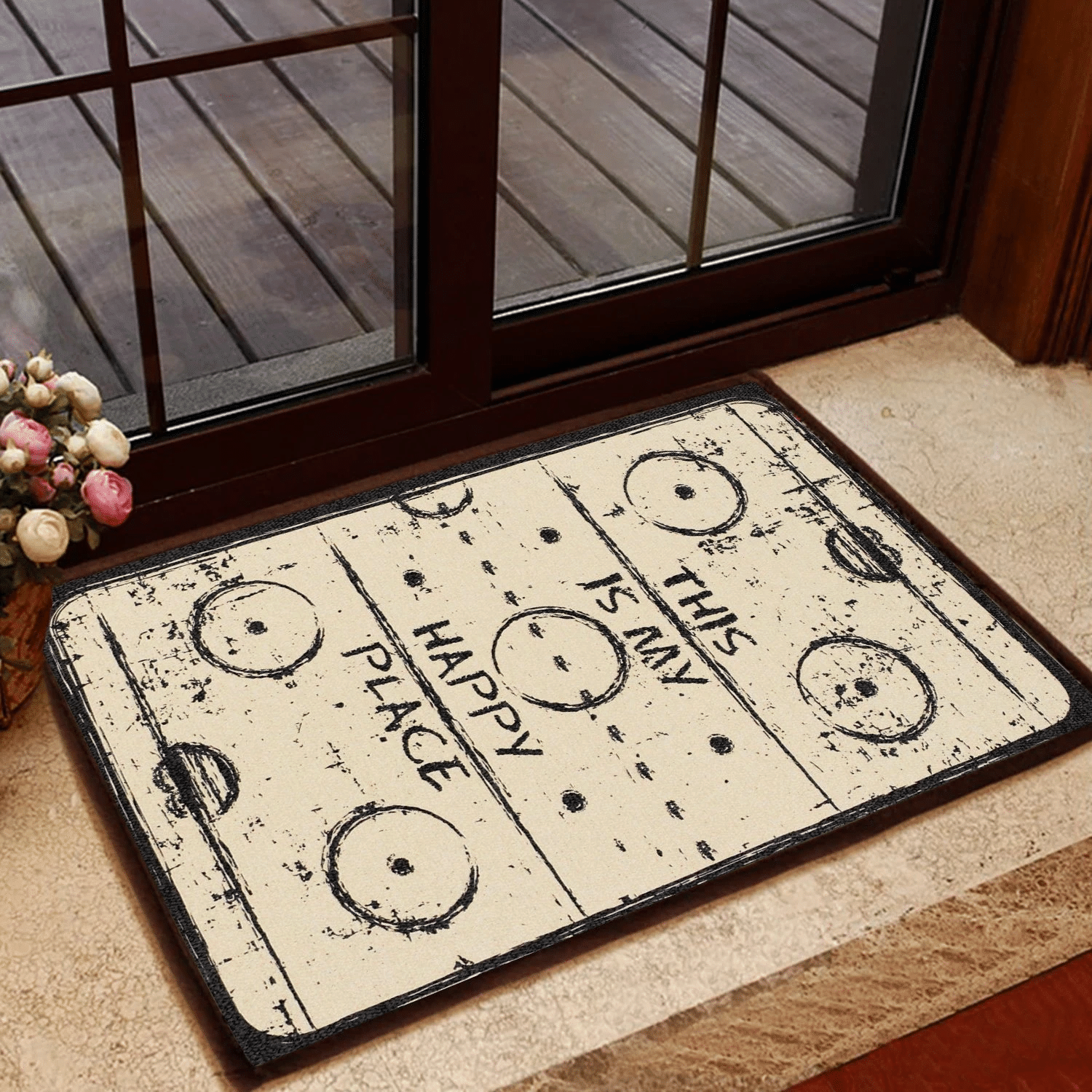 Lovers  Door Mat This Is My Happy Place Pattern