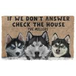 3D Check The Husky House Custom Name Doormat