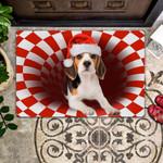 Beagle Christmas - Dog Doormat  Welcome Mat  House Warming Gift