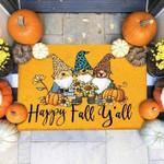 Dogs Yorkshire Terrier Happy Fall Funny Outdoor Indoor Wellcome Doormat
